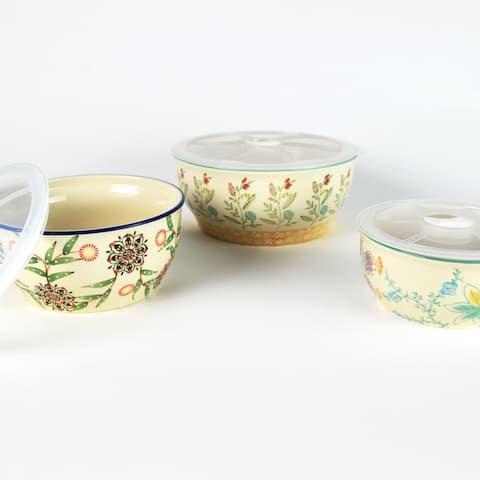 Euro Ceramica Ella 3-Piece Assorted Storage Bowl Set - Set of 3