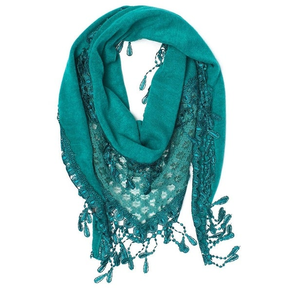 Women's Fancy Lace Fringes Triangle Scarf - Teal