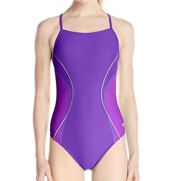 Speedo Purple Revolve Splice Powerflex Womens Size 6 One-Piece Swim