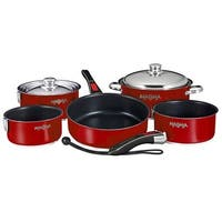 Magma Nesting 10-Piece Induction Compatible Cookware - Slate Black Ceramica Non-Stick Interior - Magma Red Exterior Nesting