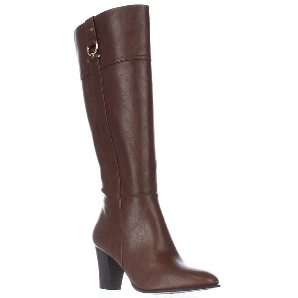 A35 Courtee Wide Calf Heeled Knee High Boots, Cognac