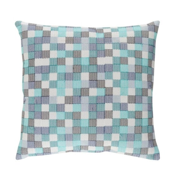 "18"" Baby Blue and Eye Liner Black Chevron Decorative Throw Pillow"