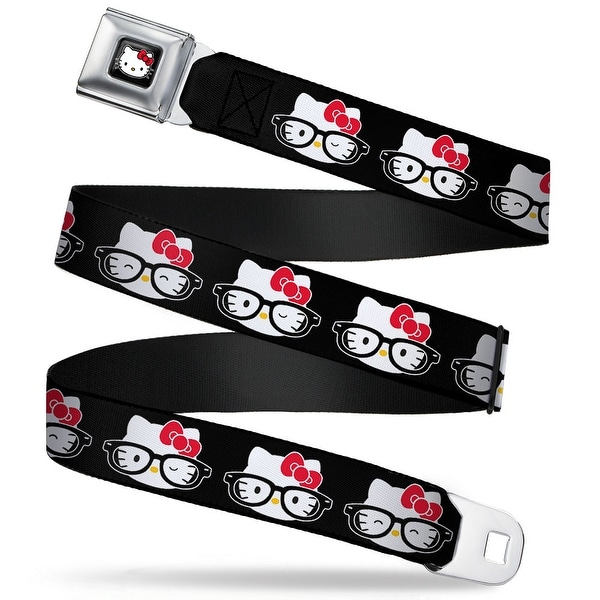 Hello Kitty W Red Bow Full Color Black Hello Kitty Nerd Expressions Black Seatbelt Belt