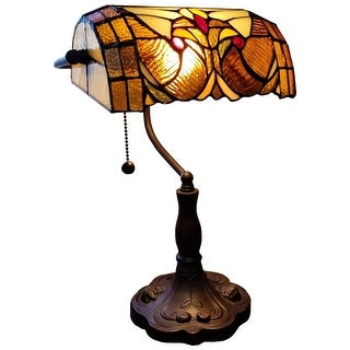 """Link to Tiffany Style Table Lamp Floral 13"""" Tall Stained Glass Tan Decor Night Stand Bedroom Handmade Gift AM339TL10 Amora Lighting Similar Items in Desk Lamps"""