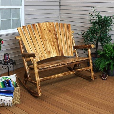 Sunnydaze Rustic Wooden Log Cabin Rocking Loveseat - 500-Pound Capacity - Brown Brown