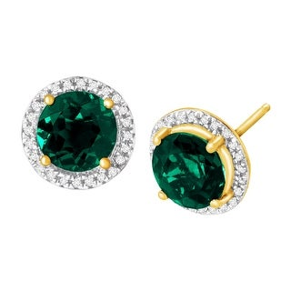 2 5/8 ct Created Emerald & 1/10 ct Diamond Stud Earrings in 14K Gold - Green