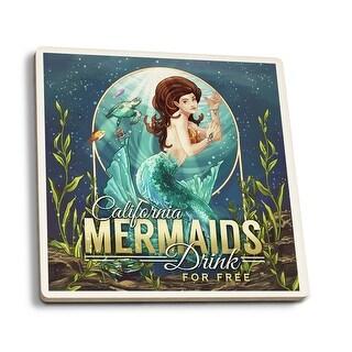California - Mermaids Drink for Free - LP Artwork (Set of 4 Ceramic Coasters)