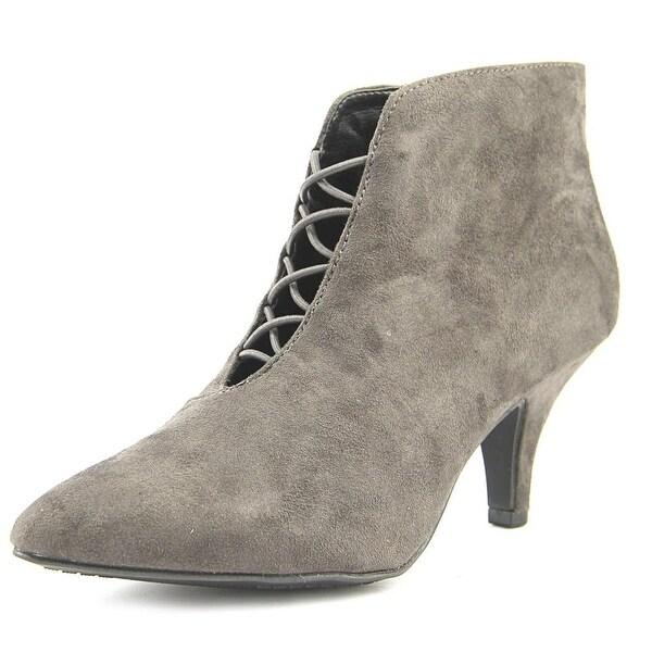 Rialto Maxine Women Pointed Toe Canvas Gray Bootie