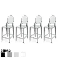 """2xhome - Set of 4 Smoke Modern 25"""" Seat Bar Stool Counter Height With Back Plastic Chairs For Home Restaurant Office"""