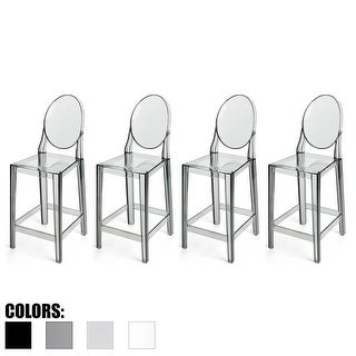 "2xhome - Set of 4 Smoke Modern 25"" Seat Bar Stool Counter Height With Back Plastic Chairs For Home Restaurant Office"