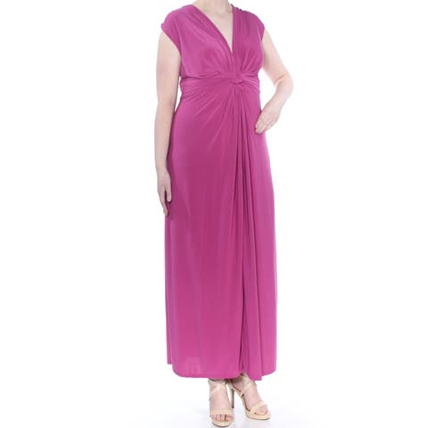 LOVE SQUARED Womens Purple Matte Jersey Knot Front Sleeveless Full-Length Evening Dress Plus Size: 2X