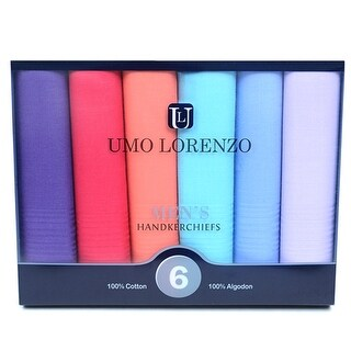 Men's 6pc Colorful Boxed Fancy 100% Cotton Handkerchiefs Hankies - regular