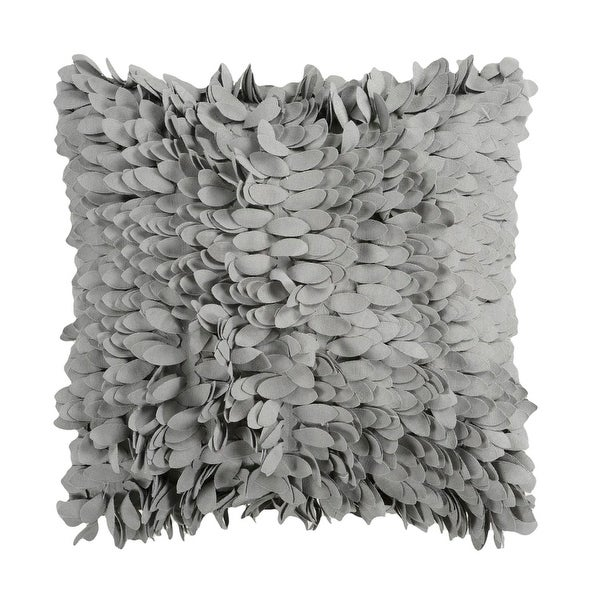 "18"" Cloud Gray Feather-Like Decorative Throw Pillow"