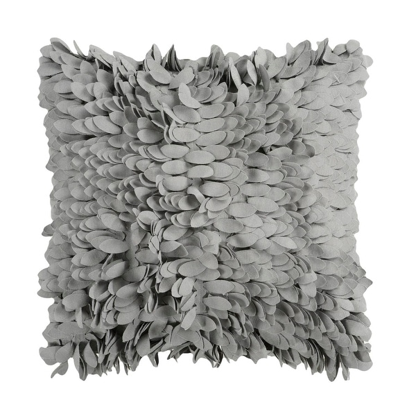"18"" Confetti Petals Gray Feather-Like Dimensional Decorative Down Throw Pillow"