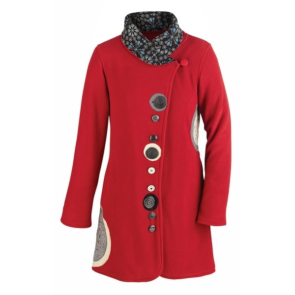 Women's Ruby Red Button Down Fleece Jacket