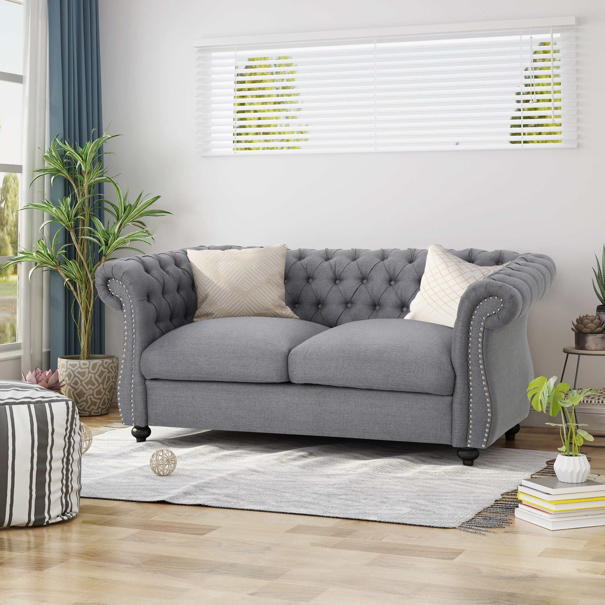 Picture of: Somerville Chesterfield Polyester Loveseat By Christopher Knight Home On Sale Overstock 22539018