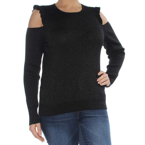 1da41d8b40c Shop DKNY Womens Black Cold Shoulder Glitter Long Sleeve Jewel Neck Sweater  Size  L - Free Shipping On Orders Over  45 - Overstock - 27986619