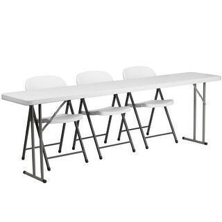 Rivera 4pcs 18''W x 96''L Plastic Folding Table Set w/3 White Folding Chairs