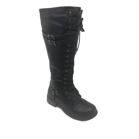 Ameta Black Strappy Lace-Up Knee High Stacked Heel Combat Boots Women