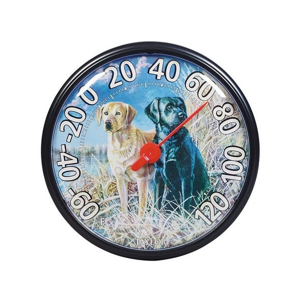 "Taylor 6703N Thermometer Labradors Dogs 13.5"", Black Bezel"