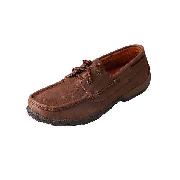 Twisted X Casual Shoes Womens Laces Round Driving Mocs Brown