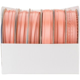 Spool O' Ribbon Woven Edge Solid Assortment 24/Pkg-Tangerine