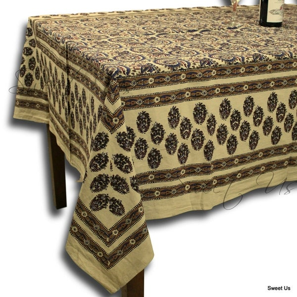 Hand Block Print Cotton Floral Tablecloth Round, Rectangle, Square Beige Gold Blue Red. Opens flyout.