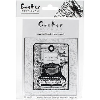 "Crafty Individuals Unmounted Rubber Stamp 4.75""X7"" Pkg-Chunky Vintage Typewriter Tag"