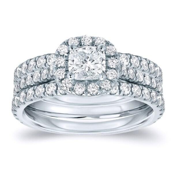 Auriya 1 1/4ctw Cushion-cut Halo Diamond Engagement Ring 3pc Set 14k Gold. Opens flyout.