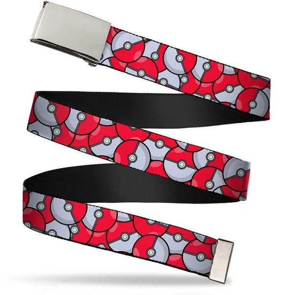 Blank Chrome Buckle The Poke Ball Stacked Red White Webbing Web Belt - S