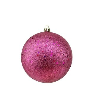 "Pink Magenta Holographic Glitter Shatterproof Christmas Ball Ornament 4"" (100mm)"