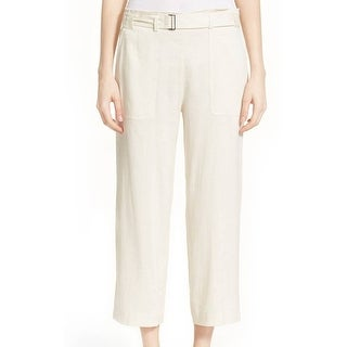 Vince NEW White Ivory Women's Size 4 Belted Coulette Linen Pants