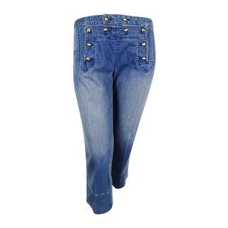 MICHAEL Michael Kors Women's Cropped Light Cadet Wash Flare Jeans
