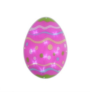 """13.75"""" Battery Operated LED Lighted Easter Egg Window Silhouette with Timer"""