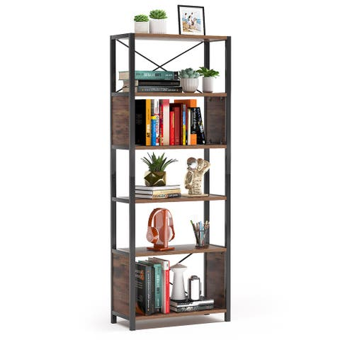 71 inches Tall Bookshelf Bookcase 6-Tier Wood Storage Shelves