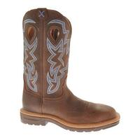 Twisted X Boots Men's MLCS003 Lite Weight Steel Toe Cowboy Work Brown Pebble/Brown Pebble Leather