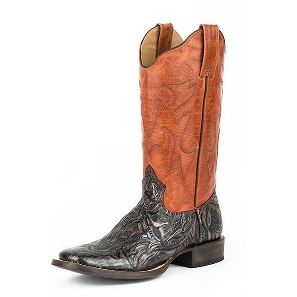 Roper Western Boots Women Leather Square Toe Brown