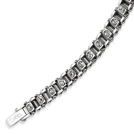 Chisel Stainless Steel with CZs 7.5 Inch Bracelet