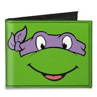 Classic Tmnt Donatello Face Close Up Green Purple Canvas Bi Fold Wallet One Size - One Size Fits most
