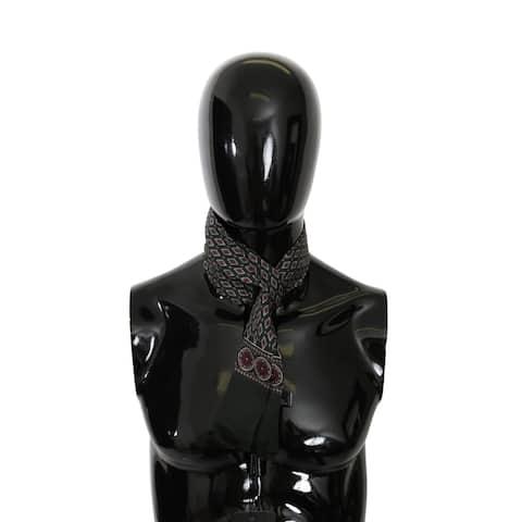 Dolce & Gabbana Green Patterned Slim Wrap Shawl Silk Men's Scarf - one-size