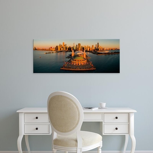 Easy Art Prints Panoramic Images's 'Elevated view of the Navy Pier, Chicago, Illinois, USA' Premium Canvas Art