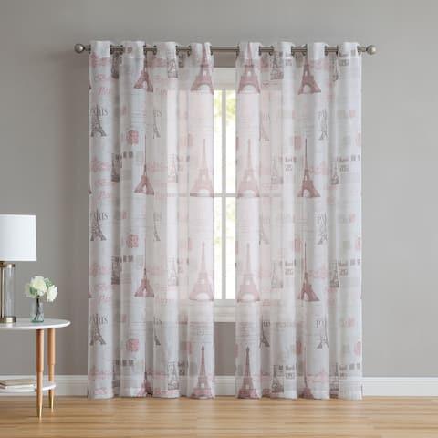 "VCNY Home Lyon Paris Sheer Curtain Panel - 55"" x 90"""