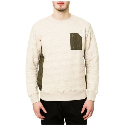 Staple Mens The Miramar Quilted Sweatshirt, Beige, Small