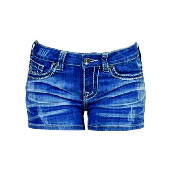 Cowgirl Tuff Western Shorts Women Shattered Whiskering Med Wash