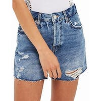Topshop Moto Blue Womens Size 8 Distressed Ashley Denim Shorts