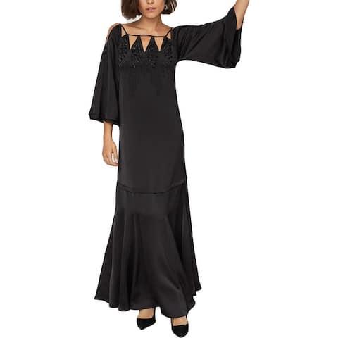 BCBGMAXAZRIA Womens Beaded Cut-Out Formal Dress - Black