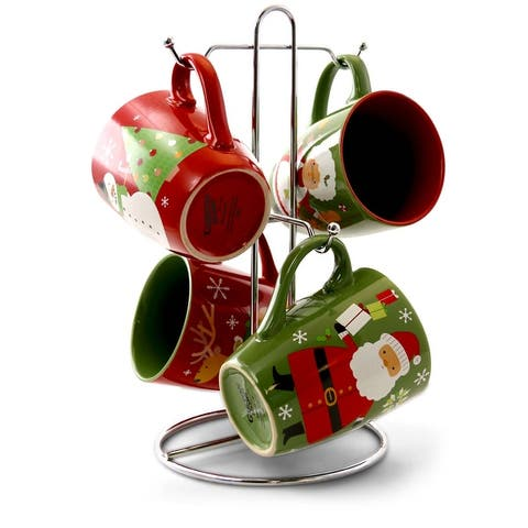 Gibson Home Santa Smile 4 Piece 15 Ounce Stoneware Mugs in Assorted Designs