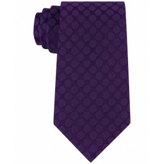 Kenneth Cole Reaction NEW Purple One Size Veloutine Dot Silk Neck Tie