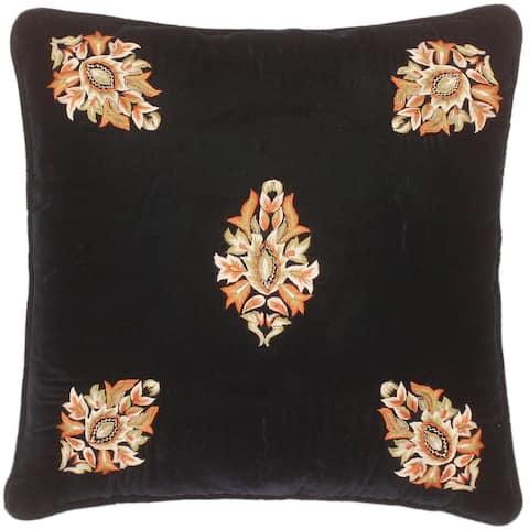 Boho Chic Mahony Hand Embroidered Italian Velvet Pillow