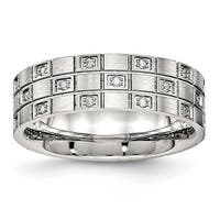 Stainless Steel Brushed Grooved CZ Ring (7 mm)